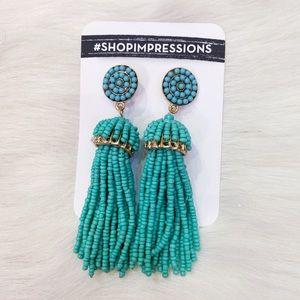 Impressions Beaded Tassel Earrings in Ocean Wave